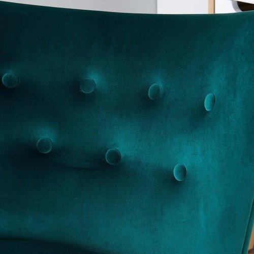 Chaise d'appoint verte en velours luxueux Elle Blush