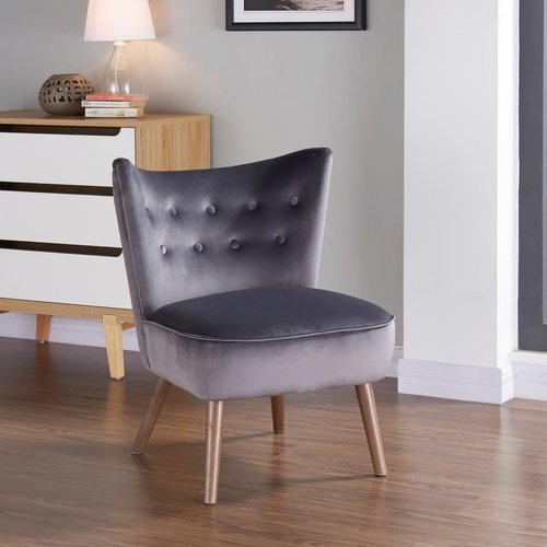 Chaise d'appoint grise en velours luxueux Elle Blush