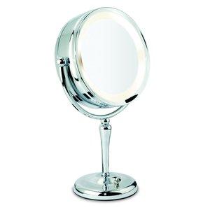 Miroir sur pied chrome à 2 faces avec éclairage et zoom 10X
