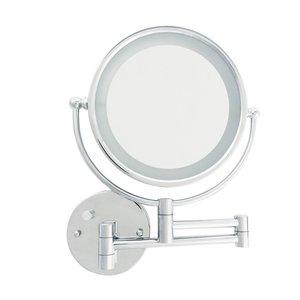 Miroir mural articulé chrome avec éclairage DEL et zoom 5X