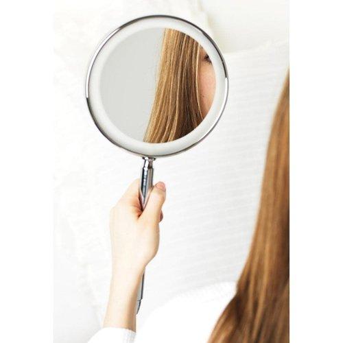 Miroir mural sans fil chrome avec éclairage DEL et zoom 5X