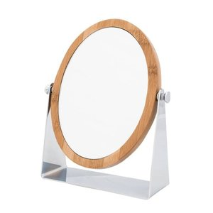 Miroir oval sur pied avec cadre en bamboo et zoom 5X