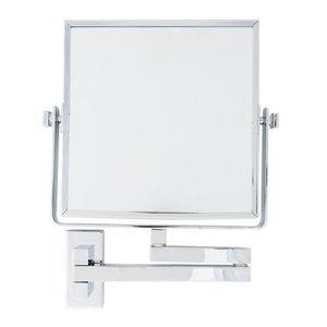Miroir mural articulé de forme carrée fini chrome avec zoom 5X