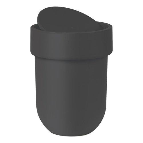 Poubelle noire avec couvercle Touch par Umbra