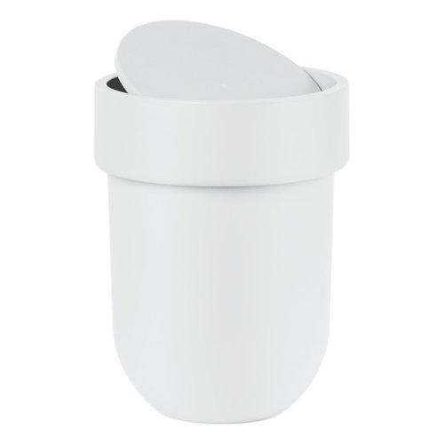 Poubelle blanche avec couvercle Touch par Umbra