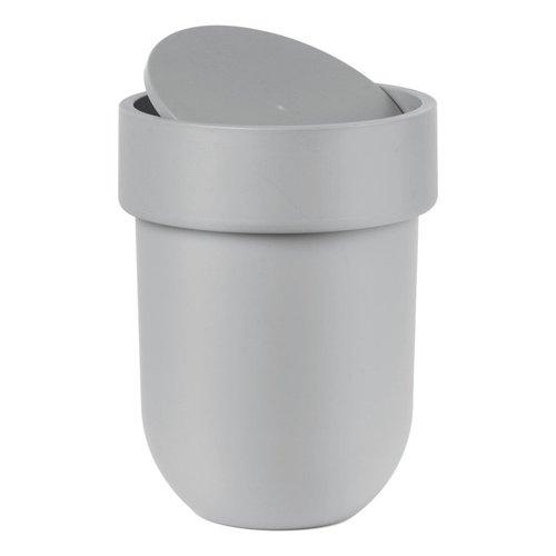 Poubelle grise avec couvercle Touch par Umbra