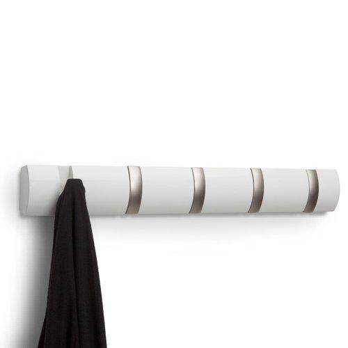 Porte-manteau blanc à 5 crochets Flip par Umbra