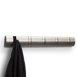 Porte-manteau nickel à 5 crochets Flip par Umbra