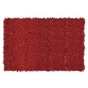 Tapis à bouclettes rouge en fibres recyclées