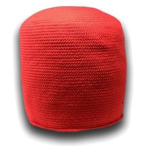 Pouf décoratif rouge en fibres recyclées