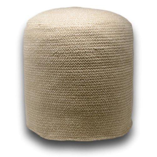 Pouf décoratif beige en fibres recyclées