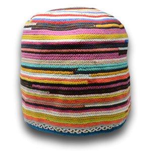 Pouf décoratif multicolore en fibres recyclées