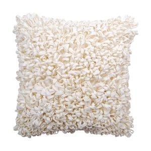 Coussin décoratif blanc crème en fibres recyclées