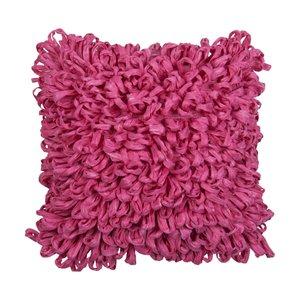 Coussin décoratif rose en fibres recyclées