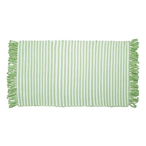 Tapis ligné vert pâle à franges en fibres recyclées
