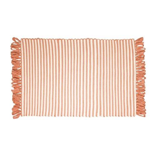 Tapis ligné corail à franges en fibres recyclées