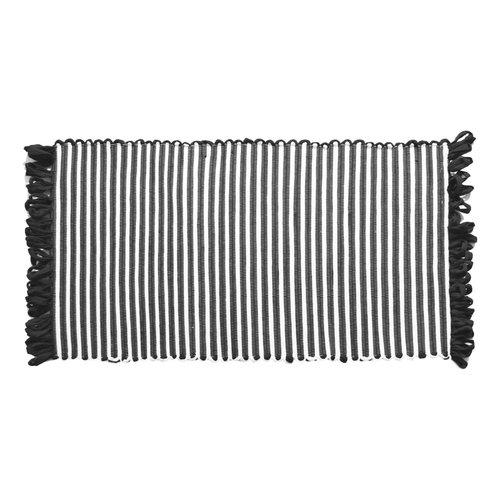 Tapis ligné noir à franges en fibres recyclées