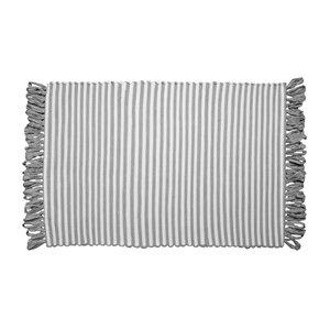 Tapis ligné gris à franges en fibres recyclées