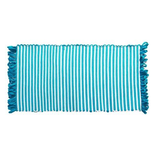 Tapis ligné aqua à franges en fibres recyclées