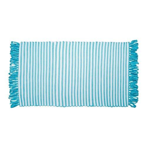 Tapis ligné turquoise à franges en fibres recyclées