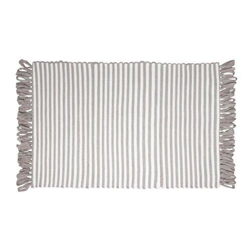 Tapis ligné taupe à franges en fibres recyclées