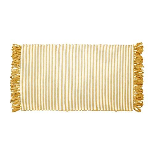 Tapis ligné jaune à franges en fibres recyclées