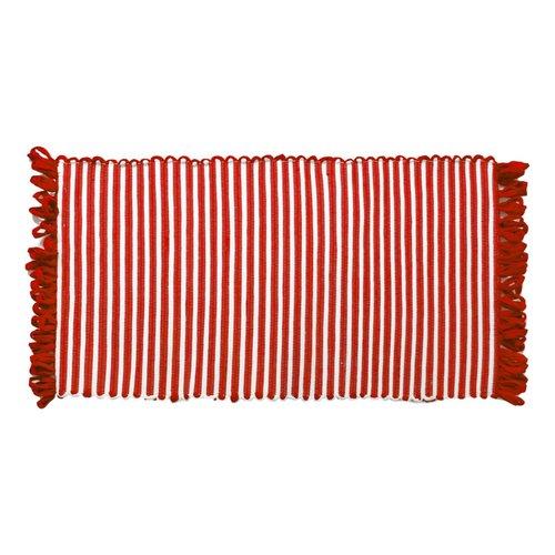 Tapis ligné rouge à franges en fibres recyclées