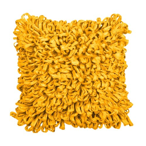 Coussin décoratif jaune vif en fibres recyclées