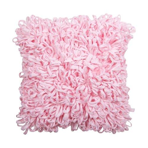 Coussin décoratif rose pâle en fibres recyclées