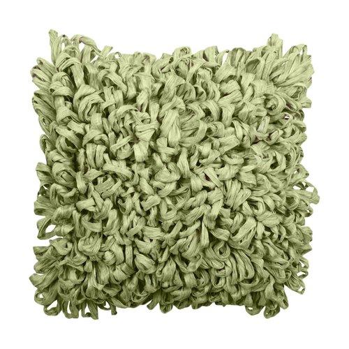 Coussin décoratif vert pâle en fibres recyclées