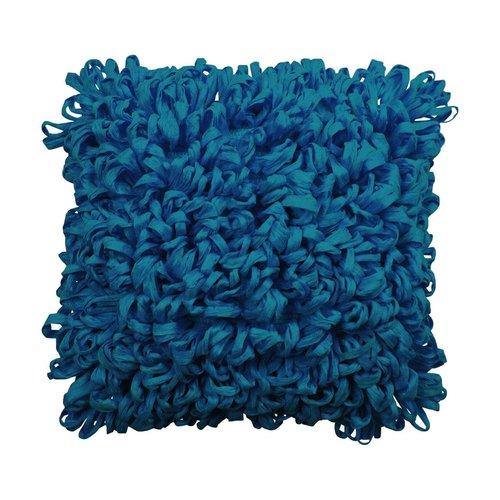 Coussin décoratif aqua en fibres recyclées