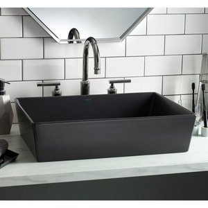 Lavabo rectangulaire gris graphite de type vasque Flex par Cheviot