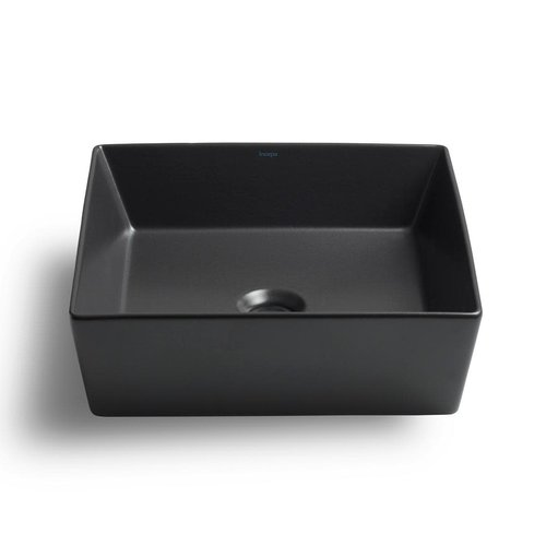Lavabo carré gris graphite de type vasque Flex par Cheviot