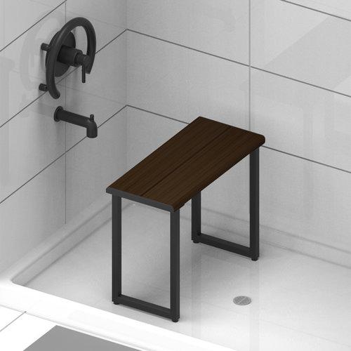 Siège pour la douche en bambou noyer et noir par Invisia