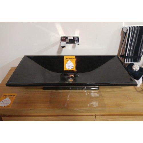 """Lavabo rectangulaire 31"""" de type vasque en granit noir"""