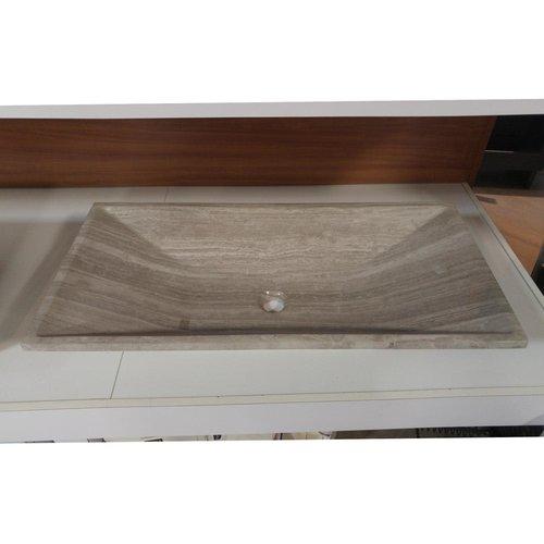 """Lavabo rectangulaire 31"""" de type vasque en marbre gris"""