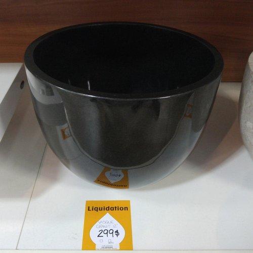 Lavabo rond de type vasque en granit noir
