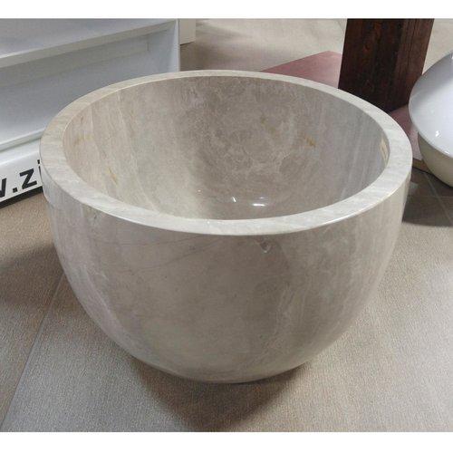 Lavabo rond de type vasque en granit beige