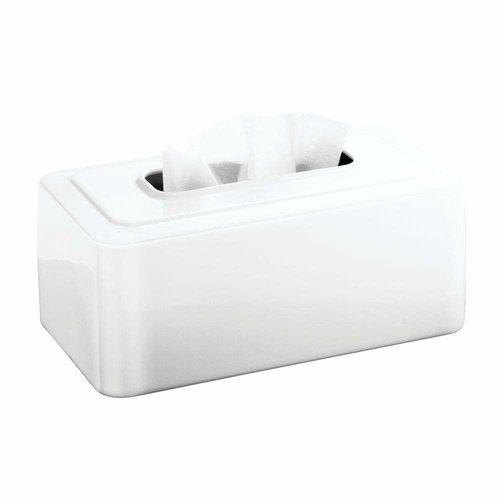 Boîte à mouchoirs blanche en métal par Interdesign