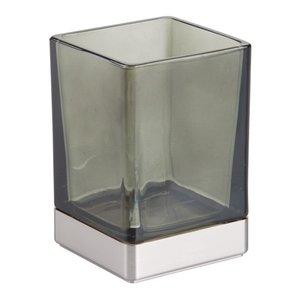 Gobelet de salle de bain verre fumé et inox Casilla par Interdesign
