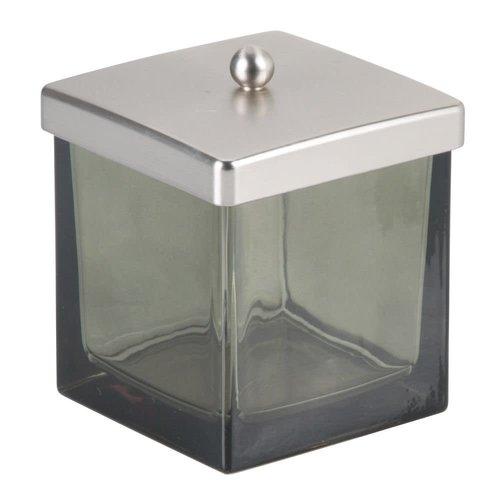 Jarre à coton verre fumé et inox Casilla par Interdesign