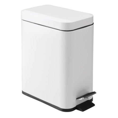 Poubelle à pédale rectangulaire de 5L blanche par Interdesign