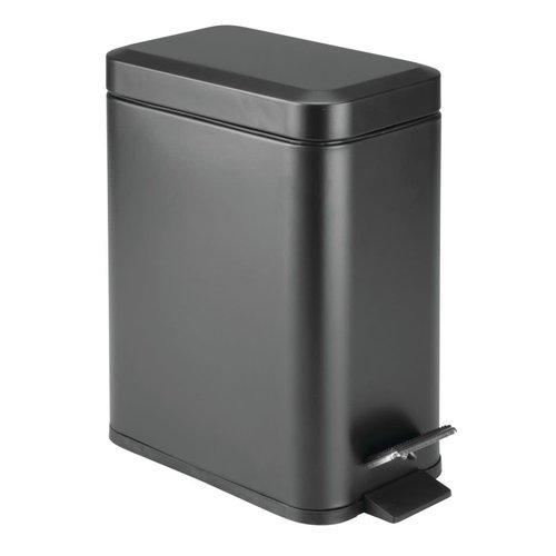 Poubelle à pédale rectangulaire de 5L noire par Interdesign