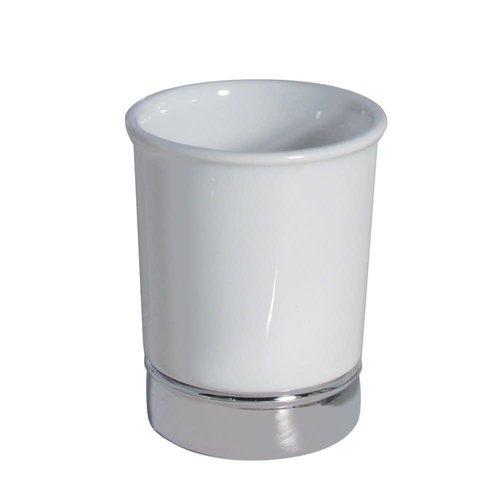 Gobelet de salle de bain blanc et chrome York par Interdesign