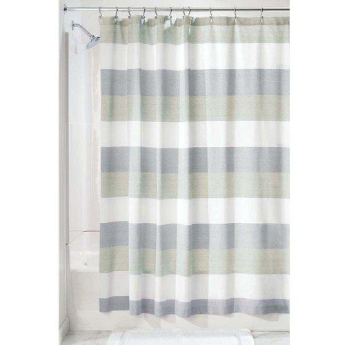 Rideau de douche bleu et vert à rayure Wide par interdesign