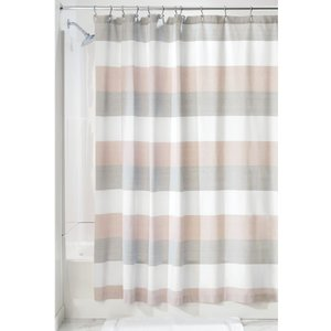 Rideau de douche gris et rose à rayure Wide par interdesign