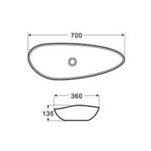 Lavabo asymétrique de type vasque Oval