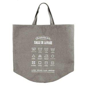 Panier à linge gris en tissu avec instructions