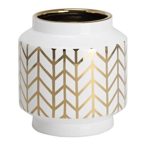 TORRE&TAGUS Vase Element motif de chevron blanc et or