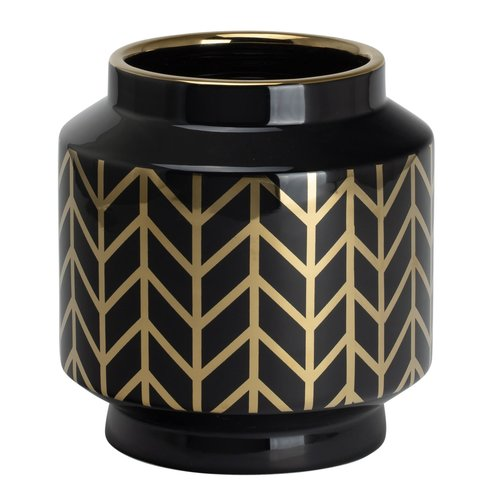 TORRE&TAGUS Vase Element avec motif chevron noir et or